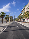 Spain, Barcelona, Passeig de Colom with view to Columbus column - AMF004235