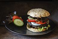 Homemade veggie burger, mushroom lentil fritter - EVGF002385