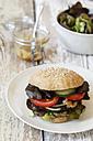 Homemade veggie burger, mushroom lentil fritter - EVGF002389