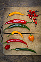 Different chili peppers on wood - LVF003891