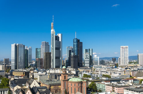 Germany, Hesse, Frankfurt on Main, City view with financial district skyline - AMF004251