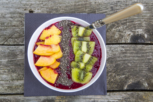 Smoothie with fruits and chia seeds in bowl - SARF002107