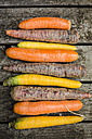 Row of different carrots on wood - SARF002141
