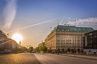 Germany, Berlin, Hotel Adlon at Pariser Platz during Sunrise - NKF000406