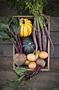 Wooden box of different organic vegetables - LVF003932