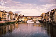 Italy, Florence, River Arno and Ponte Vecchio at sunset - GEMF000452
