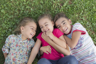 Portrait of three laughing children lying side by side on a meadow - ERLF000056