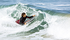 Spain, Asturias, Colunga, body board rider on the waves - MGOF000825