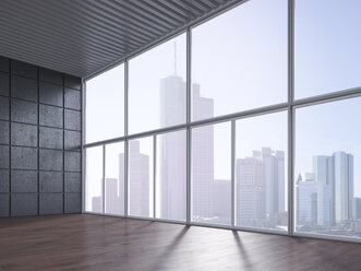 Empty room with wooden floor, concrete wall and view at skyline, 3D Rendering - UWF000627