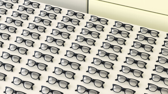 Rows of black glasses on a table - UWF000633