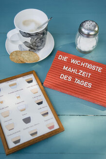 Bisvuits and cup of coffee with chart of coffee sorts and text 'most important meal of the day' - GISF000171
