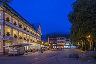 Germany, Bavaria, Oberstdorf, market square at blue hour - FR000340