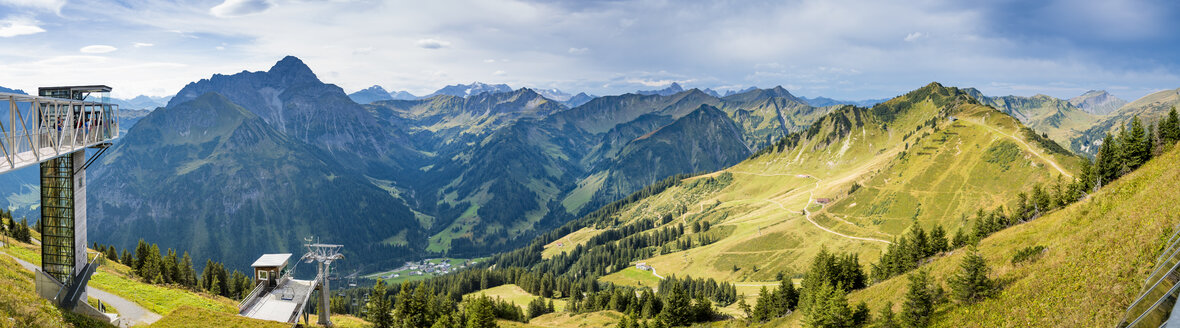 Austria, Riezlern, panoramic view from summit of Walmendinger Horn towards Kleinwalsertal - FRF000343