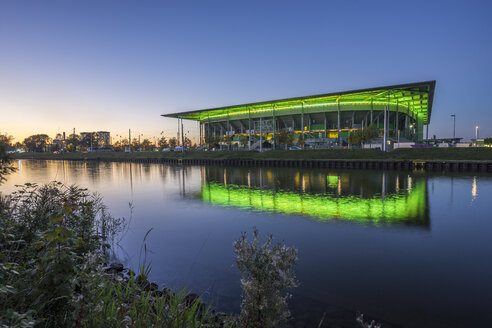 Germany, Lower Saxony, Wolfsburg, Autostadt, Volkswagen Arena in the evening - PVCF000704