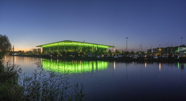 Germany, Lower Saxony, Wolfsburg, Autostadt, Volkswagen Arena in the evening - PVCF000707