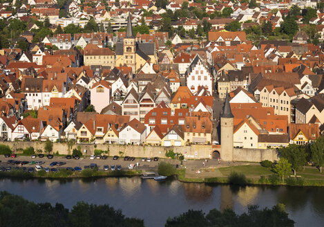 Germany, Bavaria, Karlstadt, Main River and old town - SIEF006797