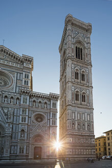 Italy, Florence, view to Basilica di Santa Maria del Fiore and Campanile di Giotto at backlight - FOF008304