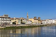 Italy, Florence, view to Basilika Santa Croce behind row of houses at Arno River - FOF008307