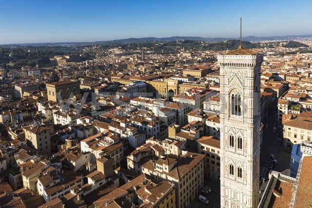 Italy, Tuscany, Florence, View of Piazza della Repubblica with Arcone, Campanile di Giotto - FOF008328