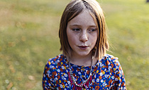 Portrait of blond girl with freckles - MGOF000941