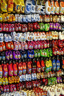 Netherlands, Amsterdam, miniature wooden clogs in a gift shop - HOH001373