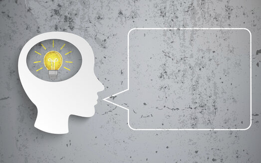 Human head with bulb and speech bubble on concrete background, vector graphics - ALF000606