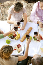 Spain, Mallorca, five friends sitting at laid table in the garden toasting with red wine - RMAF000103