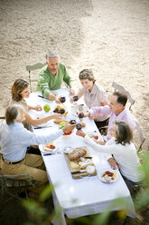 Six friends sitting at laid table in the garden toasting with red wine - RMAF000121