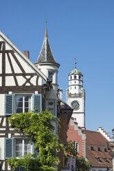 Germany, Baden-Wuerttemberg, Ravensburg, timber-framed house and Blaserturm - ELF001665