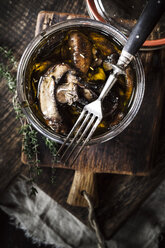 Preserving jar of pickled champignons with herbs - SBDF002392