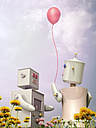 Male and female robot standing with balloon on flower meadow, 3D rendering - UWF000637