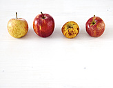 Row of three fresh apples and a shrivelled one on white wood - DISF002218