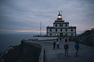 Spain, Finisterre, view to lighthouse at blue hour - RAE000604