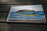Landscape drawing on wooden table outdoors - RIBF000375