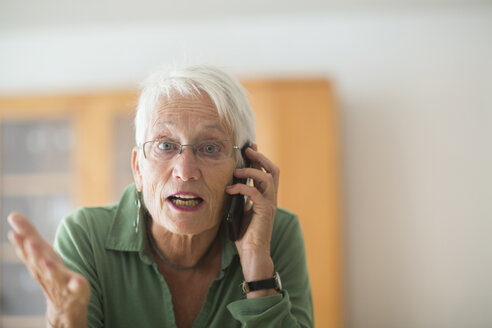 Portrait of white haired senior woman telephoning at home - SGF001934