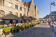 Belgium, East Flanders, Ghent, Old town, Graslei, guild houses, pavement restaurant - WD003341