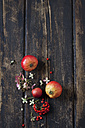 Blossoms of Hydrangea, firethorn and red apples on dark wood - CSF026587
