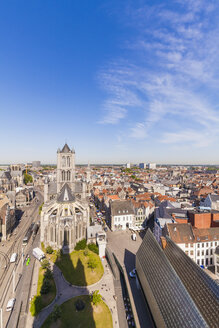 Belgium, Ghent, old town, cityscape with St. Nicholas Church - WDF003348