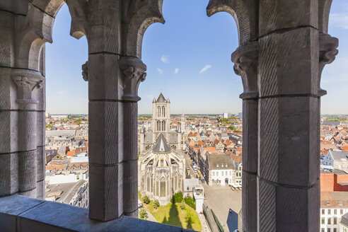 Belgium, Ghent, old town, cityscape with St. Nicholas Church - WDF003351