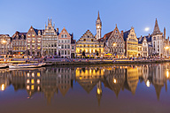 Belgium, Ghent, old town, Graslei, historical houses at River Leie at dusk - WDF003375