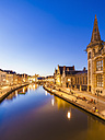 Belgium, Ghent, old town, Korenlei , historical houses at River Leie at blue hour - WDF003378