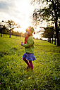 Germany, Baden-Wuerttemberg, little girl on a meadow at evening twilight - LVF004120