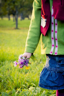 Germany, Baden-Wuerttemberg, little girl with picked flowers on a meadow, close-up - LVF004123