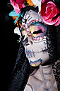 Woman dressed as La Calavera Catrina, Traditional Mexican female skeleton figure symbolizing death - ABAF001943