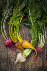 Organic beetroots on wood, yellow, white and red - LVF004126