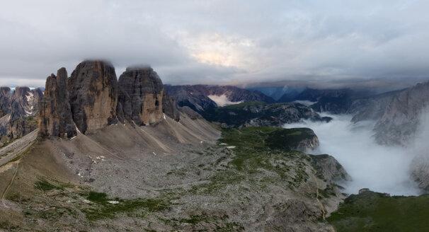 Italy, Alto Adige, Dolomites, view to Tre Cime di Lavaredo on a cloudy day - LOMF000073