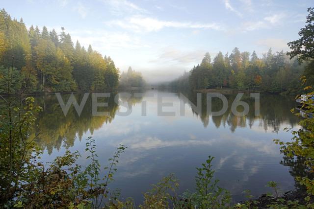 Germany,  Baden-Wuerttemberg, Rems-Murr-Kreis, morning fog above lake Ebnisee - PCF000210 - Peter Schickert/Westend61