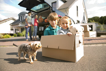 Two brothers with dog inside cardboard box on the road with family in background - TOYF001426