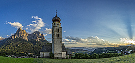 Italy, Dolomites, Church of Saint Valentino and the Sciliar at sunset - LOMF000084