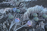 Turkey, Anatolia, Cappadocia, hot air ballons near Goereme over tuff rock landscape - FC000793